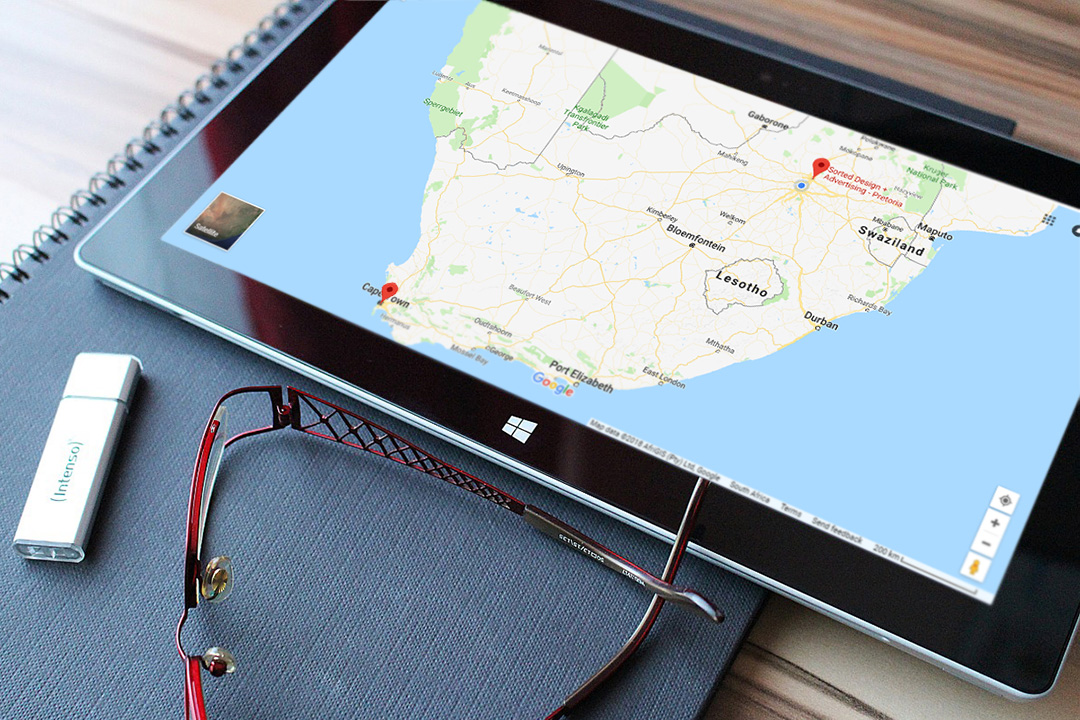Tablet with South Africa map on screen