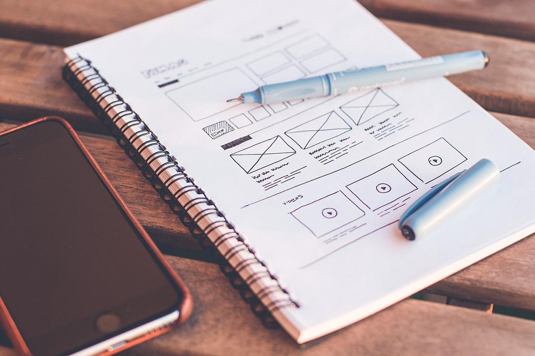 Web design layout on paper