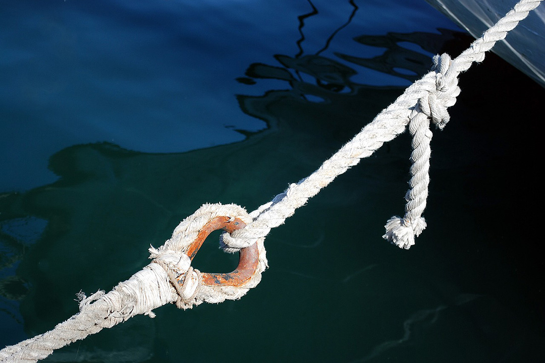 Anchor rope in a harbour